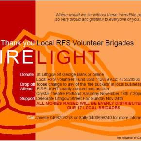 FireLight; A thank you to our Volunteer RFS Brigades